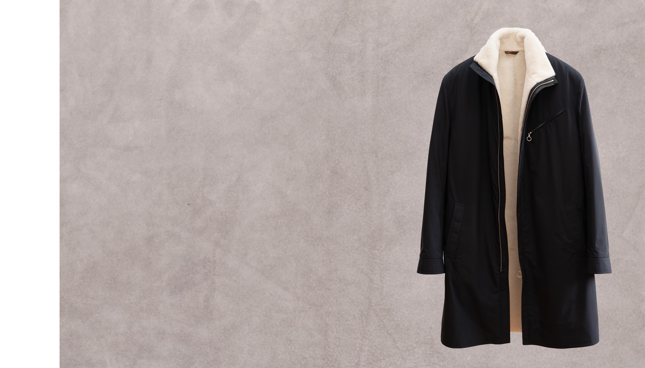 Quai des brumes 100 – Navy kimono nylon lined with white nutria fur