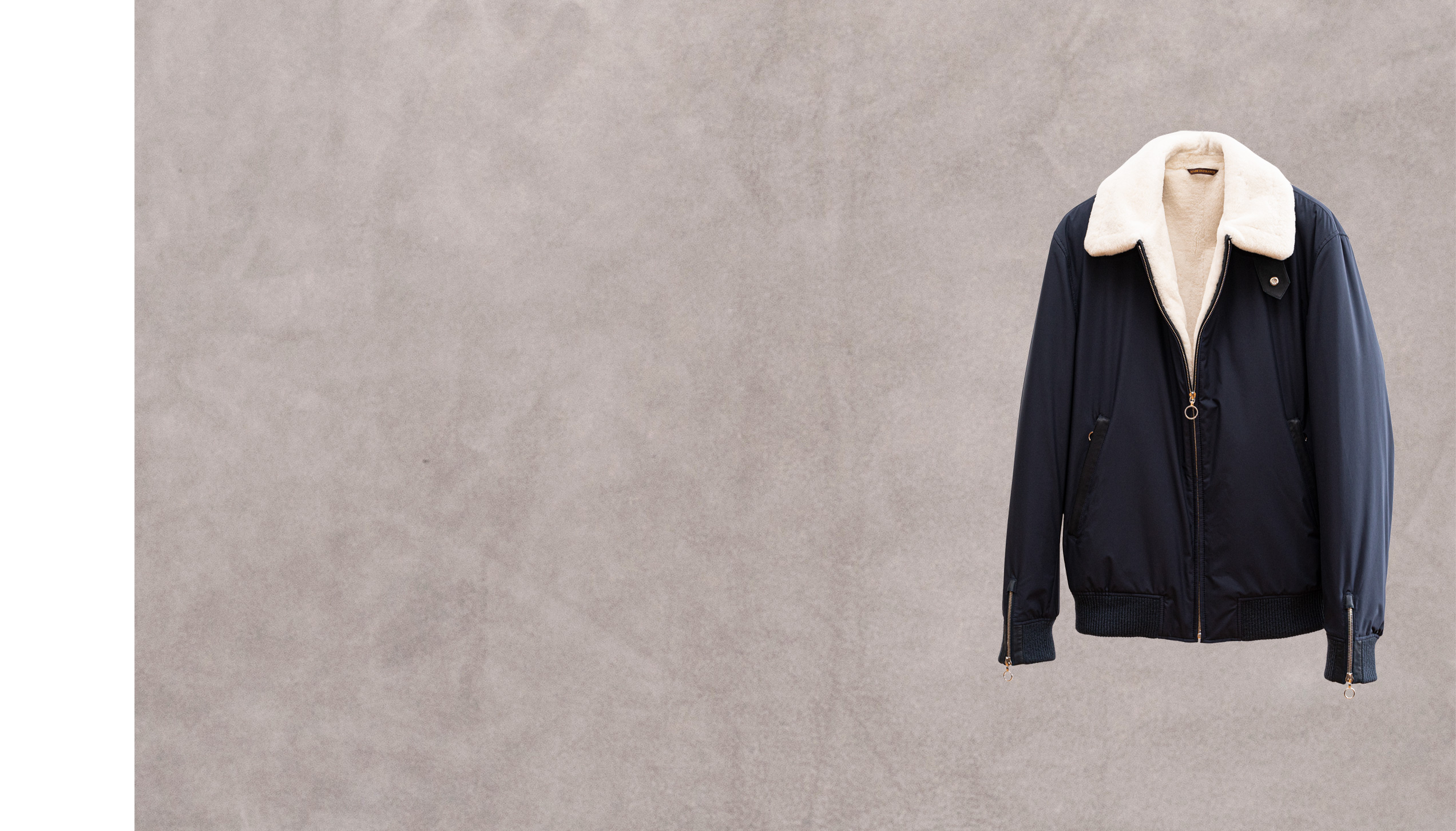 DBP – Navy kimono nylon lined with white nutria fur