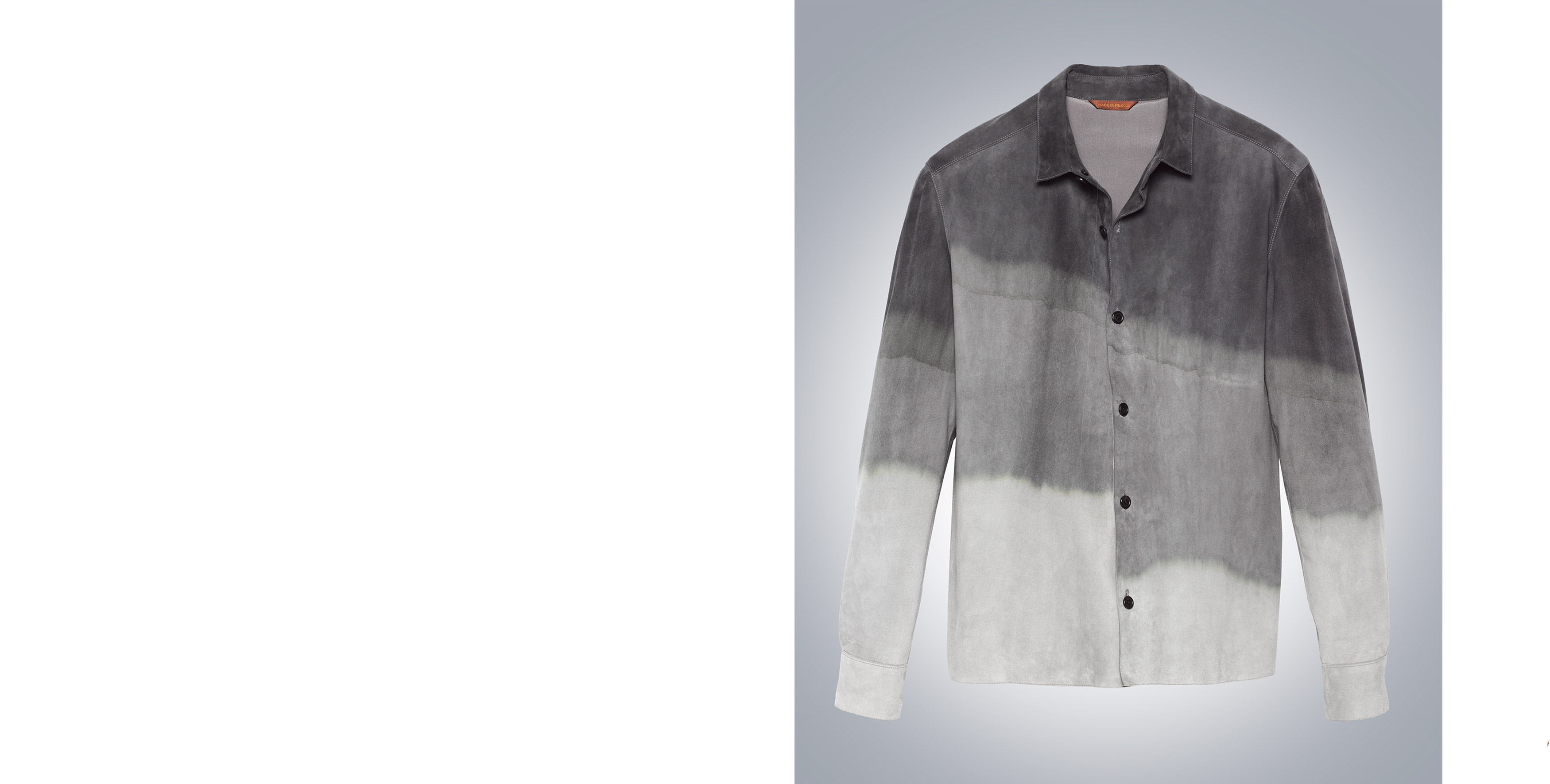 Shirt in tie-dye deer suede and Eider down lining