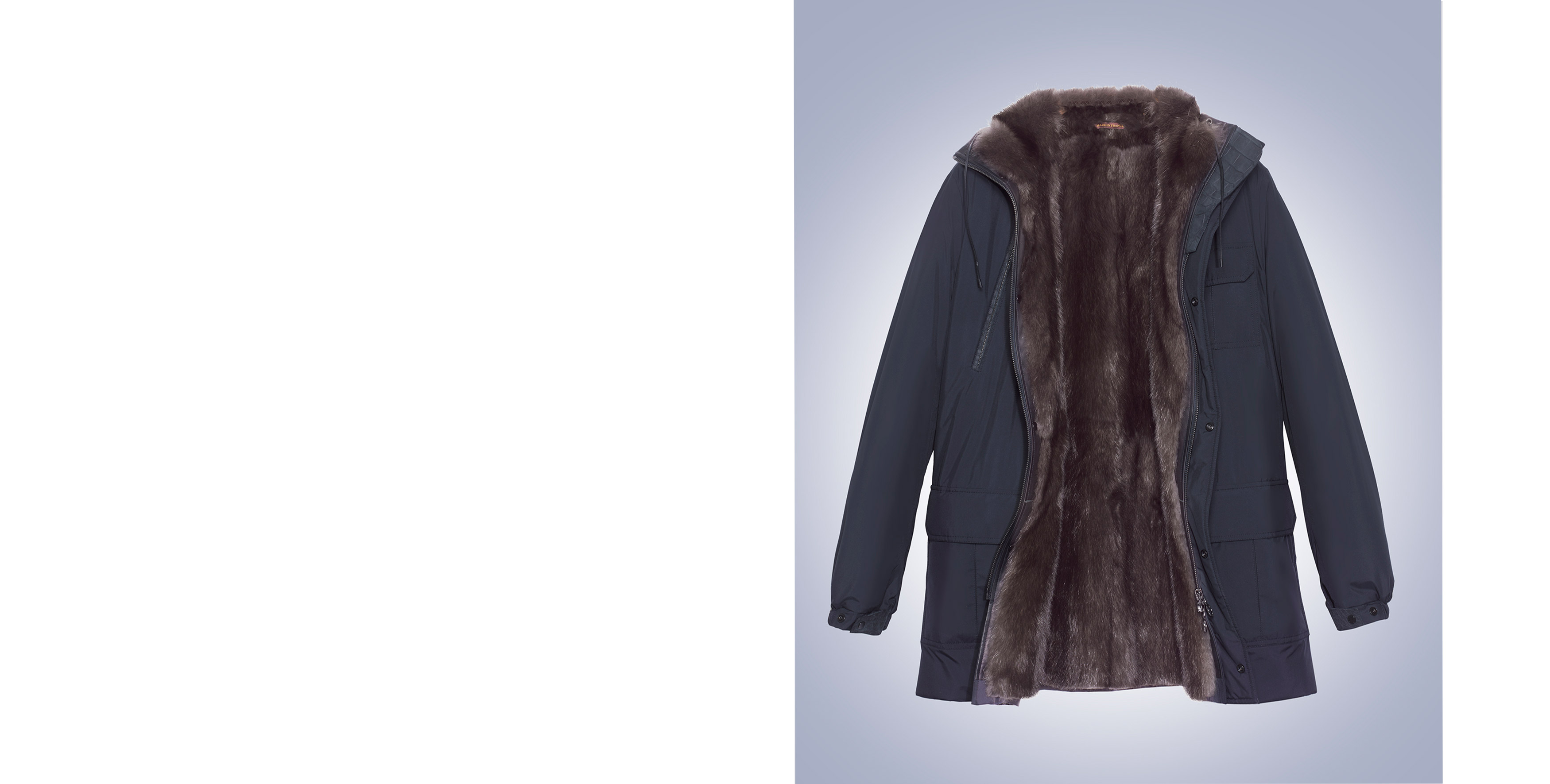 Everest parka in kimono nylon and sable fur lining