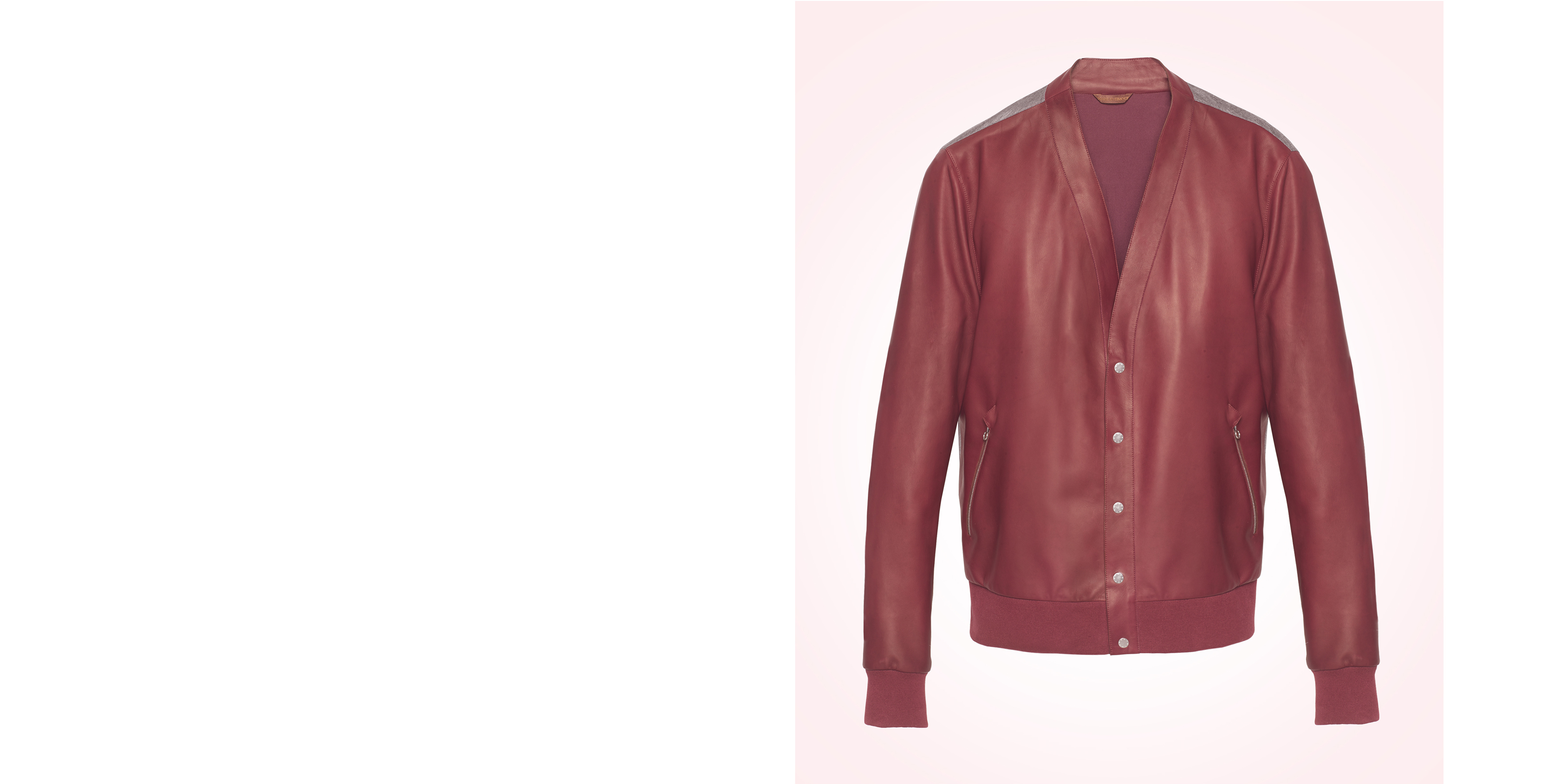 Cardi jacket in cardinal nymphea lamb leather, back in anthracite cashmere jersey