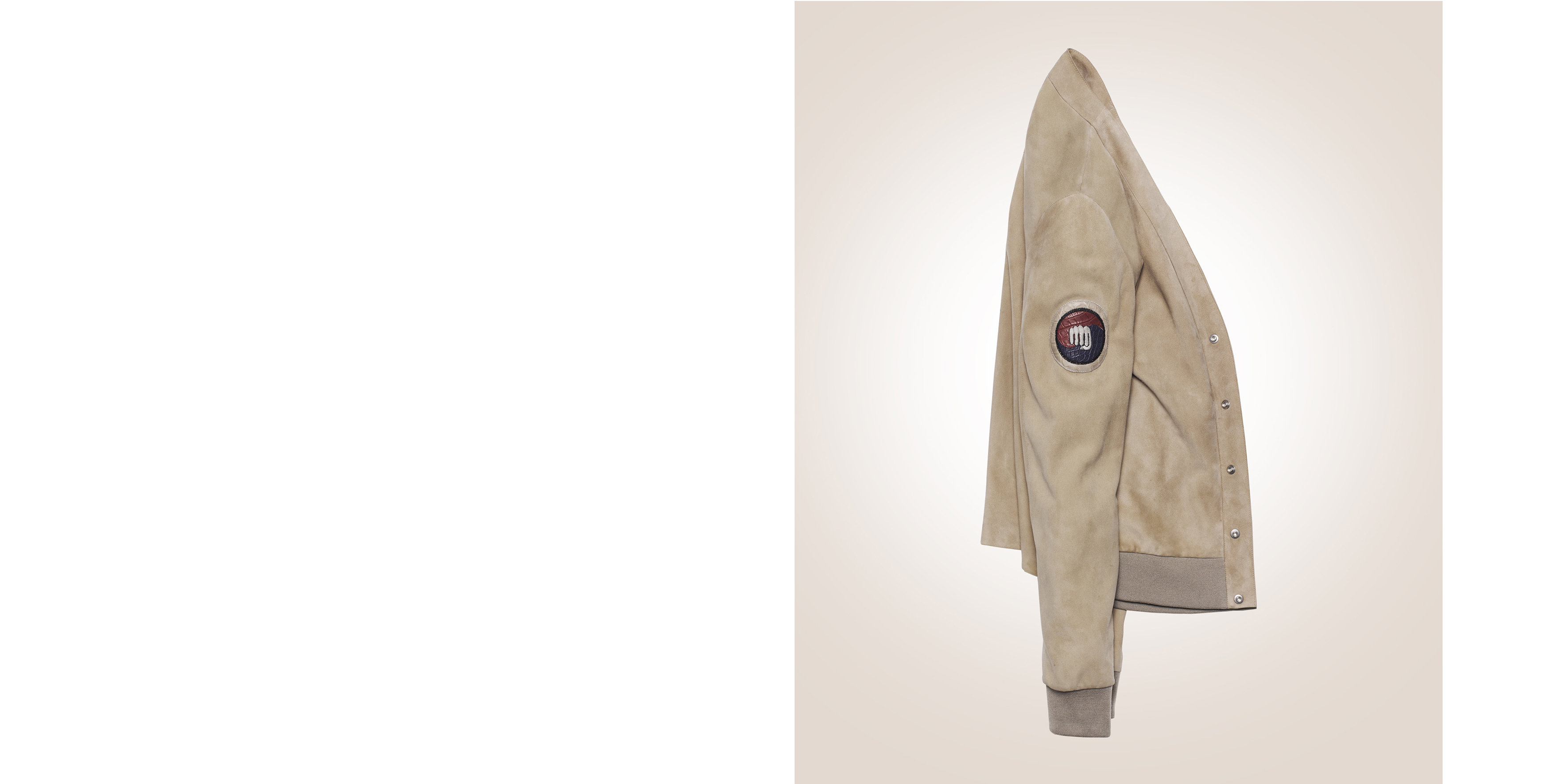 Cardi jacket in sable suede goat, embroidered crocodile badge