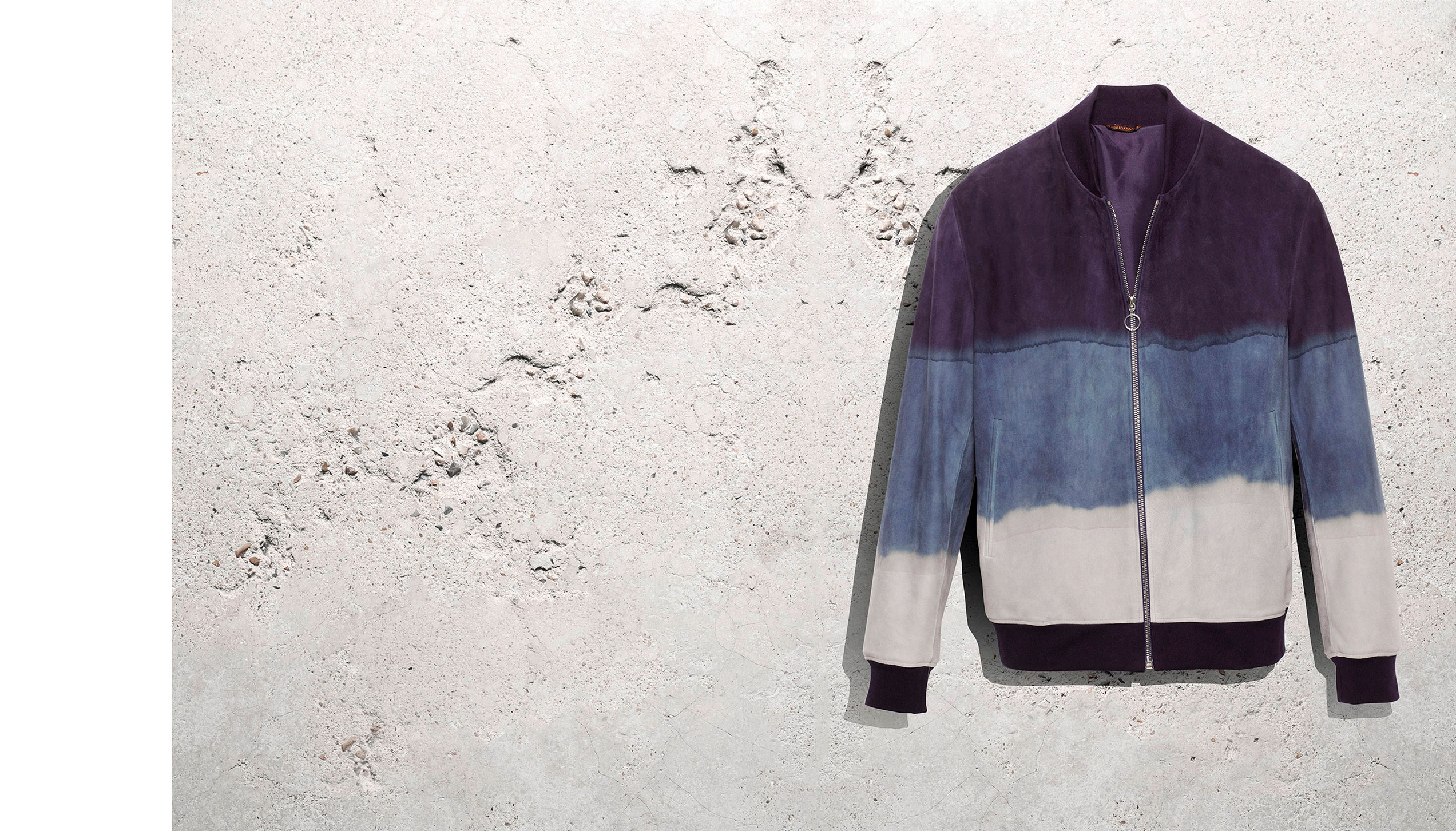 Dean jacket in tie-dye suede deer leather