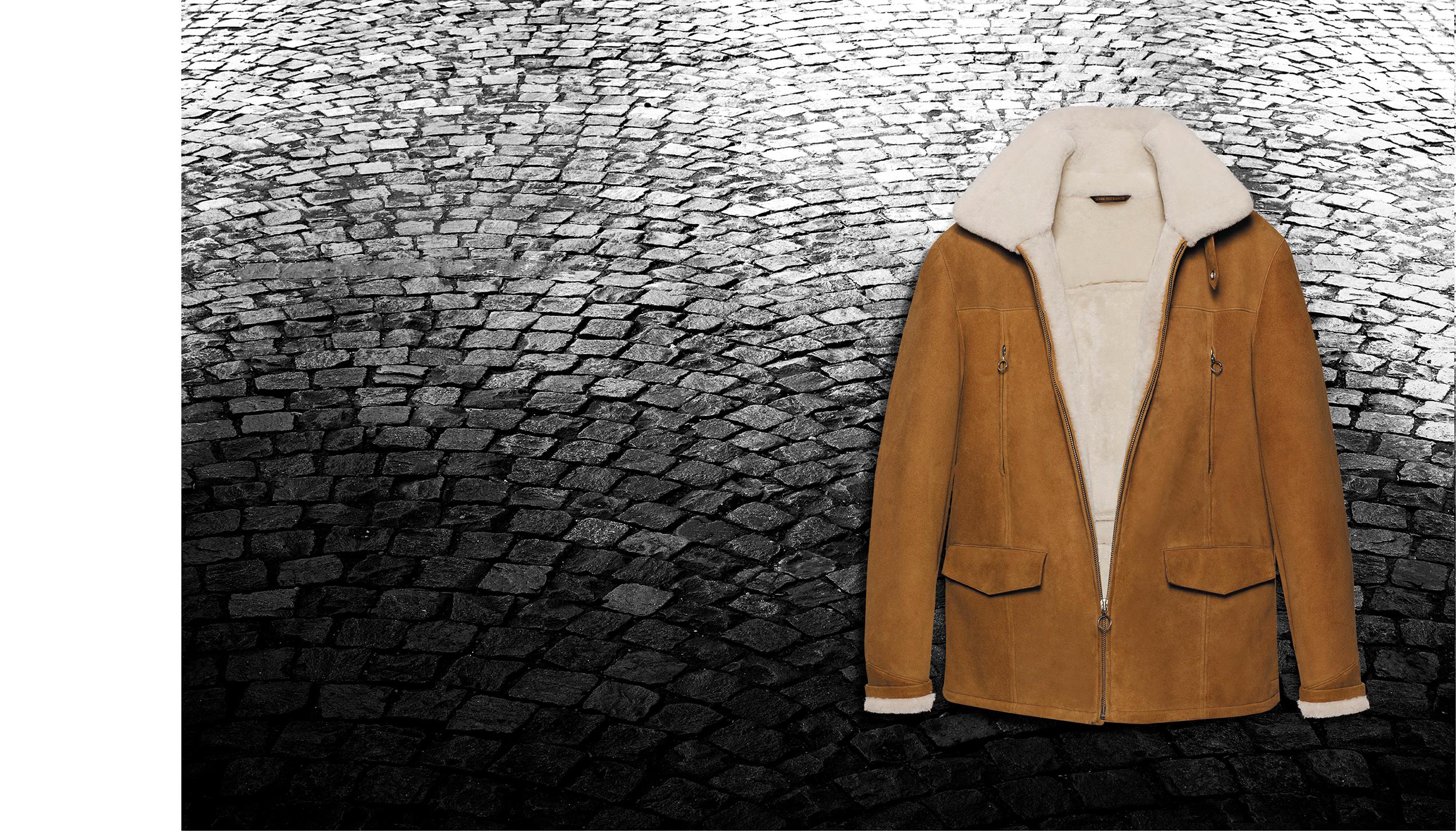 Townsman jacket – Cognac extase sheepskin, merino white wool