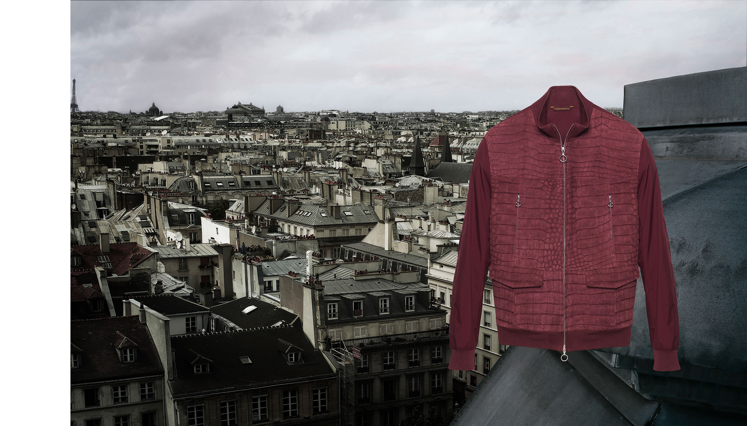 Urban zips jacket – Nubuck crocodile and burgundy kimono nylon